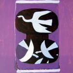 Trois Oiseau sur Fond Violet
